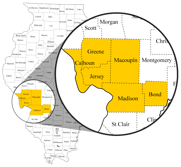 IMPACT CIL Service Area Map: Serving Calhoun, Greene, Jersey, Macoupin, Madison, and Bond Counties.